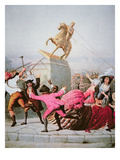 New York Patriots Pull Down the Statue of George Iii at Bowling Green, 9th July 1776, 1854 Giclee Print by William Walcutt