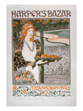 Advertisement for the Thanksgiving Edition of 'Harper's Bazar', 1894 (Colour Litho) Premium Giclee Print by  American