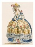 Lady's Elaborate Ball Gown, Engraved by Dupin, from 'Galeries Des Modes Et Costumes Francais' Impression giclée par Augustin De Saint-aubin