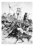 Illustration of the Battle of Little Bighorn, 25th June, 1876 (Litho) Giclee Print by Alfred R. Waud