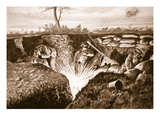 A Grenade Exploding Which Temporary Lieutenant Knox Was About to Pick Up and Fling Out of Trench Giclee Print by Alfred Pearse