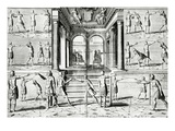 The Fencing Lesson (Engraving) (B/W Photo) Giclee Print by Adriaen Matham