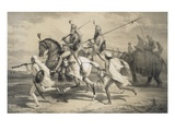 Sikh Chieftans Going Hunting, from 'Voyages in India', Pub. by Smith, Elder and Co., 1858 (Litho) Giclee Print by A. Soltykoff