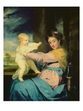 Portrait of Caroline, Duchess of Marlborough with Her Daughter Lady Caroline Spencer Giclee Print by Sir Joshua Reynolds