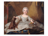 Portrait of Marie-Zephyrine (1750-55) of France with Her Dog, 1751 (Oil on Panel) Giclee Print by Jean-Marc Nattier
