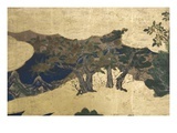 Detail of Spring in the Palace, Six-Fold Screen from 'The Tale of Genji', C.1650 Premium Giclee Print by  Japanese