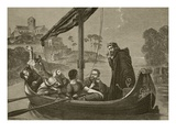 Canute on the River Nene Listening to the Choir of Ely Minster, Engraved by F. Wentworth Giclee Print by William Cave Thomas