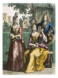 Ladies Formal Day Dresses, 1690 (Coloured Engraving) Giclee Print by  French