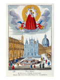 Pilgrims Visiting the Shrine of Our Lady of Loretto, 18th Century (Coloured Engraving) Premium Giclee Print by  French