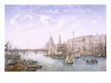 Custom House and London Bridge, 1862 (Colour Litho) Giclee Print by Achille-louis Martinet