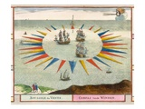 Compass of the Winds, 1693 (Colour Litho) Giclee Print by Pierre Mortier