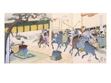Warriors Playing a Kind of Polo (Colour Woodblock Print) Giclee Print by  Japanese