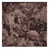 British Paratroopers Bombard German Positions with Mortars, Battle of Arnhem, 1944 (B/W Photo) Giclee Print by  English