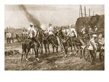 Russian Cossack Artillery Engaging the Chinese Outside Peking Giclee Print by Richard Caton Woodville