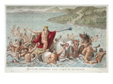 Neptune Calming the Waves, Book I, Illustration from Ovid's Metamorphoses, Florence, 1832 Premium Giclee Print by Luigi Ademollo