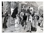 Copyists in the Grande Galerie of the Louvre, C.1880 (Litho) Giclee Print by  French