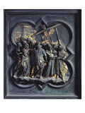 The Ascent of Christ to Calvary, Seventeenth Panel of the North Doors of the Baptistery Giclée-tryk af Lorenzo Ghiberti