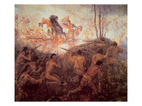 The Death of General Braddock Near Fort Duquesne (Oil on Canvas) Giclee Print by  English