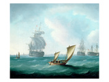 British Men-O'-War and a Hulk in a Swell, a Sailing Boat in the Foreground Giclee Print by Thomas Buttersworth