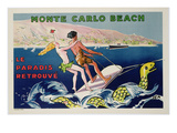 Poster Advertising Monte Carlo Beach, Printed by Draeger, Paris, C.1932 (Colour Litho) Giclee Print by  Sem