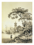 A Pagoda on the Macao-Canton Canal, Plate 21 from 'Sketches of China', Engraved by Eugene Ciceri Premium Giclee Print by Auguste Borget