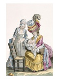Young Woman in a Dress 'A La Levite' Breastfeeding Her Baby Giclee Print by Pierre Thomas Le Clerc
