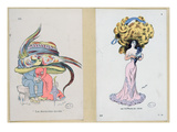 La Derniere Mode', Fashion Plates Caricaturing Hair and Hat Styles, 1909 (Colour Litho) Giclee Print by Xavier Sager