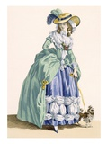 Lady Walking Her Dog, Engraved by Dupin, Plate No.190 Lámina giclée por Francois Louis Joseph Watteau