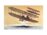 Wilbur Wright (1867-1912) in His 'Flyer', before 1914 (Colour Litho) Giclee Print by Leon Pousthomis