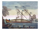 A Royal Galley (Spanish or Portuguese) Rowed by Slaves, Firing a Signal, from 'Le Naptune Francois' Giclee Print by Pierre Mortier