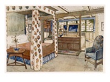 A Bedroom for a Country House in the Arts and Crafts Style (Colour Litho) Giclee Print by Tom Merry