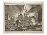 Fire at the Old Amsterdam Town Hall, 17th July 1652, from a Book on Firefighting in Holland Giclee Print by  Dutch