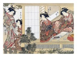 Japanese Women Reading and Writing (Colour Woodblock Print) Premium Giclee Print by Katsukawa Shunsho