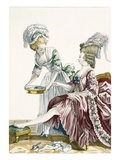 An Elegant Woman Washing Her Feet, Plate 32 from 'Galerie Des Modes Et Costumes Francais' Giclee Print by Pierre Thomas Le Clerc