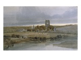 Kirkstall Abbey, Yorkshire: Evening (W/C on Paper) Premium Giclee Print by Thomas Girtin