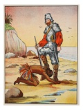Robinson Crusoe and Friday Giclee Print by  English