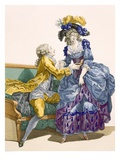 Young Lady in Electric Blue and Purple Gown with Her Young Suitor, Engraved by Dupin, Plate No.206 Giclee Print by Francois Louis Joseph Watteau