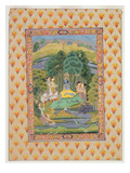 Krishna and the Gopis (Gouache on Paper) Giclee Print by Indian