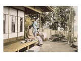 Ladies at Home (Hand Coloured Photo) Giclee Print by  Japanese Photographer