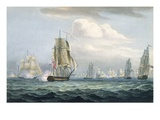 Sir Sidney Smith&#39;s (1764-1840) Squadron Engaging a French Flotilla, 26th May, 1804 Giclee Print by Thomas Whitcombe