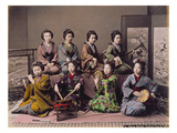Group of Geisha Girls Playing Musical Instruments (Hand Coloured Albumen Print on Card) Reproduction procédé giclée par Kusakabe Kimbei