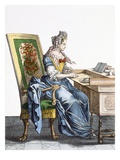 Lady at Writing Desk (Coloured Engraving) Giclee Print by  French