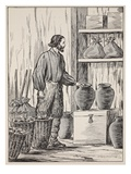 Robinson Crusoe in His Storeroom Giclee Print by  English