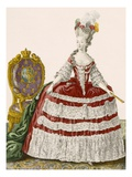 Lady's Court Gown in Dark Cherry, Engraved by Patas, Plate No.44 Giclee Print by Pierre Thomas Le Clerc
