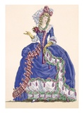 Elaborate Court Dress in Electric Blue with Tassel Edging, Engraved by Dupin, Plate No.275 Impression giclée par Augustin De Saint-aubin