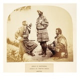 Group of Bhotanese, Chiefly or Tibetan Origin, Bhotan, from 'The People of India' Giclee Print by  English Photographer