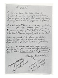 Le Possede' Autograph Poem (Pen and Ink on Paper) Giclee Print by Charles Pierre Baudelaire