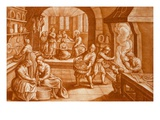 The Story of Mary and Martha, Illustration from the Bible, Engraved by J.C. Bodenehr Giclee Print by Mattaus II Merian