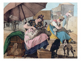 Dog Clippers on the Pont-Neuf, 1820 (Colour Litho) Giclee Print by John James Chalon