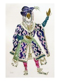 Costume Design for a Sultan (W/C on Paper) Premium Giclee Print by Leon Bakst